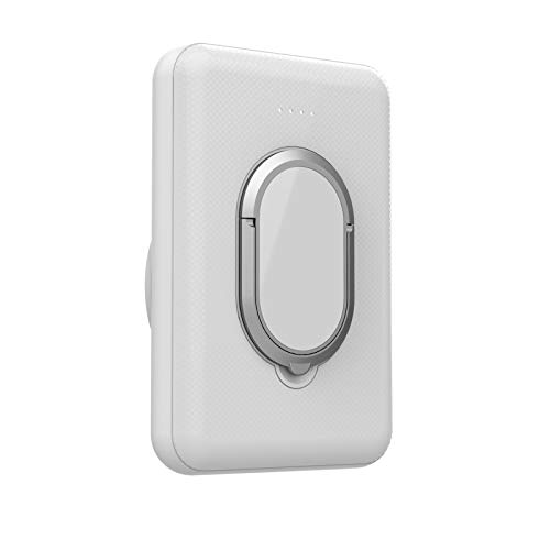 Batería Externa Inalambrica, Cargador Portátil, Power Bank Wireless Magnético 5000mAh, Charger Inalámbrica Qi 5W Tipo C Compatible con Mag-Safe iPhone 12 Pro Max Mini (Blanco con soporte)