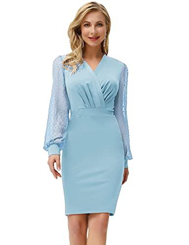 GRACE KARIN Vestido de mujer Bodycon elegante tul de manga larga con cuello en V, suizo, hip-hop, CLE2815 azul claro S