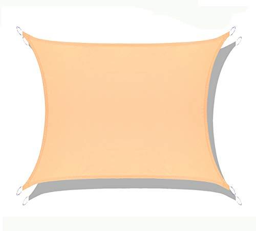 LOVE STORY Rechteck 4 x 4 m Sandbeige(PES) UV-Schutz Wasserdicht Sun Segel Sonnensegel Terrasse Garten Im Freien