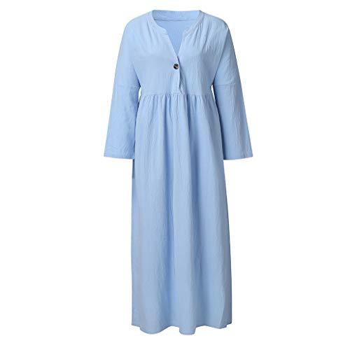 MERICAL Vestido de Lino de Manga Larga de Verano para Mujer Vestido Suelto de una línea de Fiesta Vestido de botón(S-L5)
