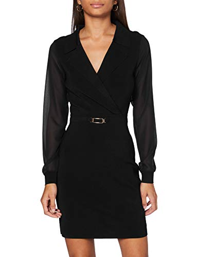 Morgan Robe Manches Longues Transparentes RMSTARA Casual Dress, Noir, M Womens