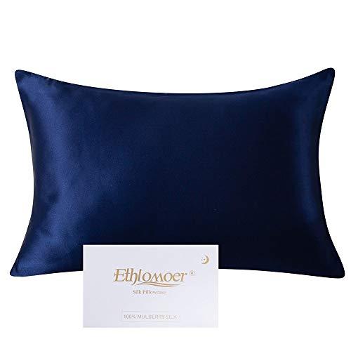 Ethlomoer Funda de almohada de seda 100% natural para cabello y piel, ambos lados, 19 momme, 600 hilos, diseño con cremallera oculta, 1 pieza de 40 x 80 cm, color azul marino