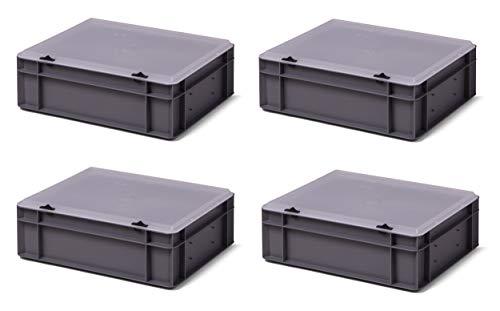 4er-Set Aufbewahrungsboxen Stapelboxen mit Deckel grau/transparent, 40 x 30 x 13 cm, extra stabil, Industriequalität aus DE