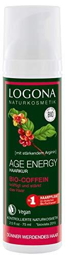 LOGONA Naturkosmetik Age Energy Haarkur Bio-Coffein, Stärkt & kräftigt energieloses Haar, Vitalisiert die Kopfhaut, Vegan, 75ml