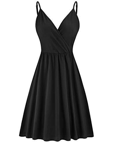 STYLEWORD Women's V Neck Spaghetti Strap Summer Casual Swing Dress with Pocket(Black-429,XXL)