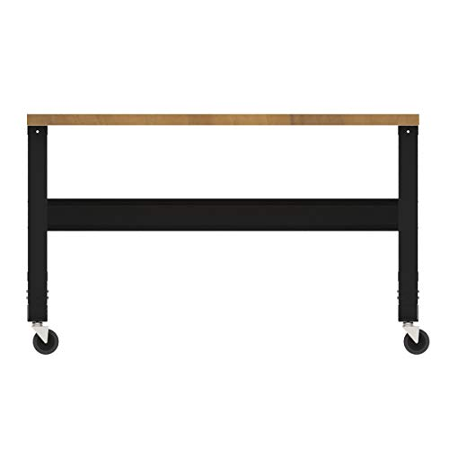 Borroughs Adjustable Height Hardwood Top Workbench with Caster Kit, 30 inches x 60 inches