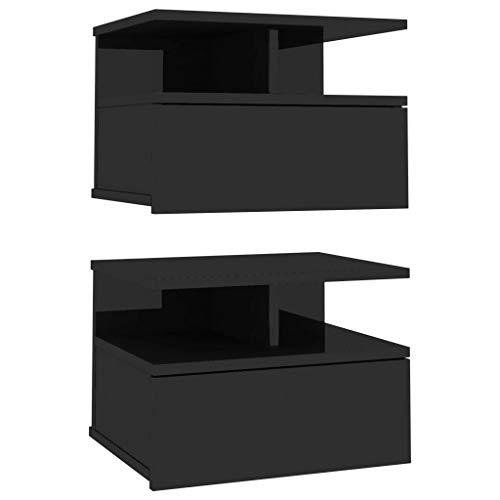 vidaXL 2X Mesitas Noche Flotantes Aglomerado Hogar Decoración Diseño Sencillo Elegantes Funcionales Prácticos Compactos Negro Brillante 40x31x27cm