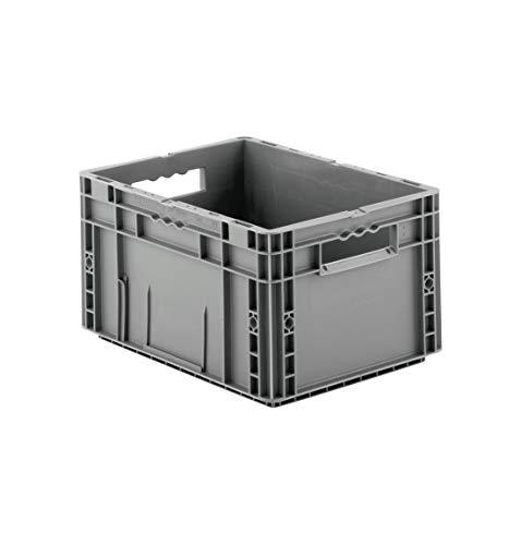 SSI Schäfer MF 4220 Eurokiste Kunststoffbox Transportbox offen ohne Deckel, 400x300 mm, 19,7 l, 20 Kg Tragkraft, Made in Germany, Grau
