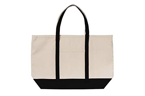 Canvas Heavy Tote Bag With Zipper & Front Pocket for Grocery, Beach, Picnic or Travel, 23' x 15' x 5' (Blue)
