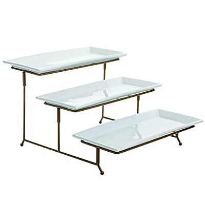 3 Tier Rectangular Serving Platter, Three Tiered Cake Tray Stand, Food Server Display Plate Rack, Gold Wire