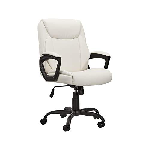 Amazon Basics Classic Puresoft Padded Mid-Back Office Computer Desk Chair with Armrest - Cream