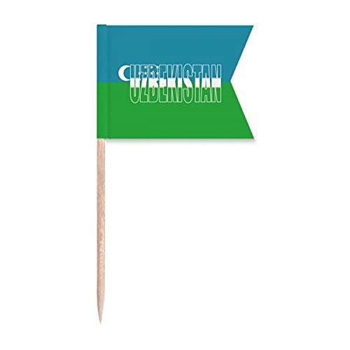 Usbekistan Länderflagge Name Zahnstocher Flaggen Kennzeichnung für Party Kuchen Lebensmittel Käseplatte