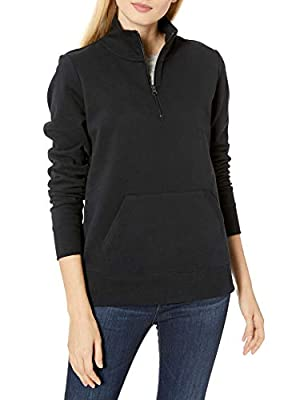 Amazon Essentials Women's Long-Sleeve Lightweight French Terry Fleece Quarter-Zip Top, Black, Medium