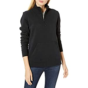 Amazon Essentials Women's Long-Sleeve Lightweight French Terry Fleece Quarter-Zip Top