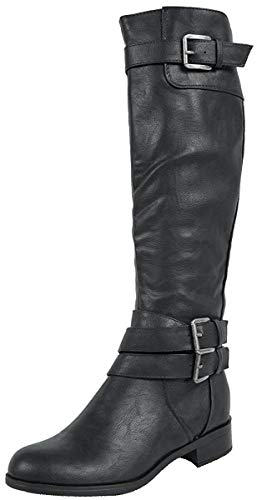 Soda Women's Doric Faux Leather Buckle Accent Knee High Riding Boots,Black,6.5