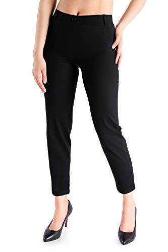 Yogipace,Belt Loops,Women s Petite Regular Tall Cigarette Dress Yoga Pants Tapered Ankle Pant Skinny Leggings Work Pants,27 ,Black,Size L