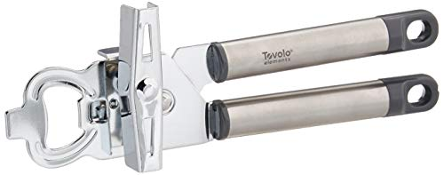 Tovolo 2-in-1 Stainless Steel Can Opener Manual Easy Turn Food-safe with Built-in Bottle Opener, Charcoal Gray