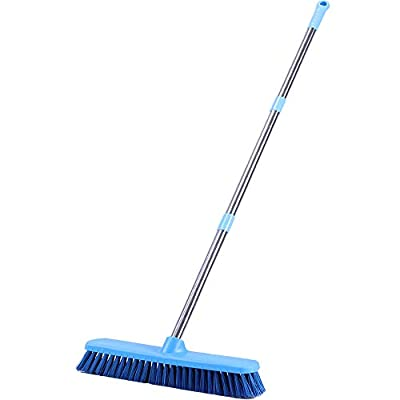 "YONILL Floor Scrub Brush with Long Handle - 48"" Deck Brush for Scrubbing, Stiff Bristle Grout Scrubber Brush for Tile Floor, Shower Scrub Brushes for Cleaning Bathtub, Tub, Bathroom, Garage and Patio"