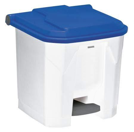 Poubelle à pédale Utilo - 30l - blanc/bleu