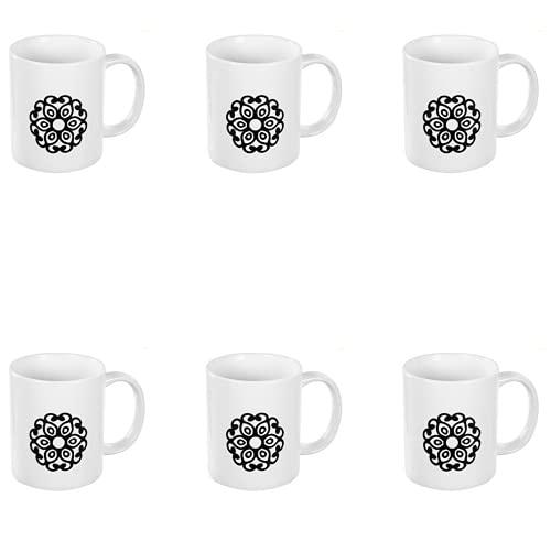 BricoLoco. Lote de 6 tazas en color blanco decorada con mandala. Tazas originales y graciosa para el desayuno. Tazas infantiles para niño y niña.