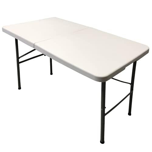 Mesa Plegable de Resina de 3cm de Grosor Multifuncional, para jardín, Camping, reuniones y Catering Color Blanco....