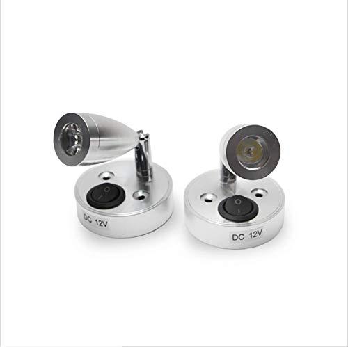 READY Interruptor de luz LED de lectura de puntos de 12 V para caravana, barco, luz interior de encendido/apagado, luz cálida (SW-2)