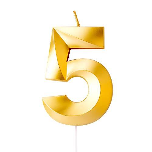 LUTER Goldene Kerzenzahl zum Geburtstag mit Speziell 3D Design, Nummer Kerzen Anzahl Kerzen Geburtstagkerzen Cake Topper Dekor für Cupcake Torten und Kuchen (Mittelgroße Nummer 5)