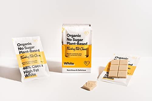 Chocolate blanco sin azúcar con 46% de cacao, chocolate vegano sin gluten con semillas de chia y leche de coco, bajo en carbohidratos, chocolate orgánico, barras de 10x50g