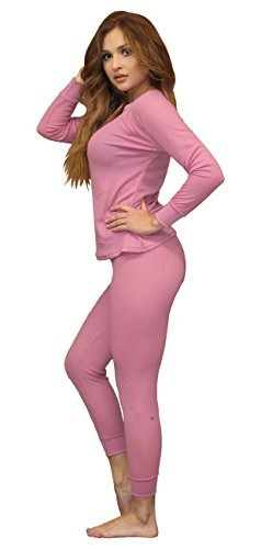 Women's Soft 100% Cotton Waffle Thermal Underwear Long Johns Sets (2XL, Pink)