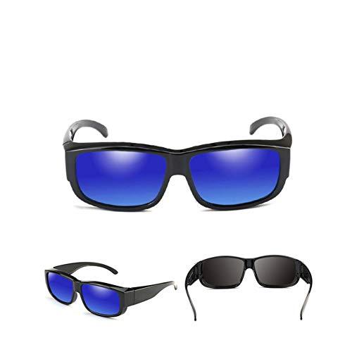 BAJSKD Ajuste polarizado sobre Gafas de Sol Que se Usan sobre anteojos Lente UV400 Montura Rectangular Gafas Vintage Conducir