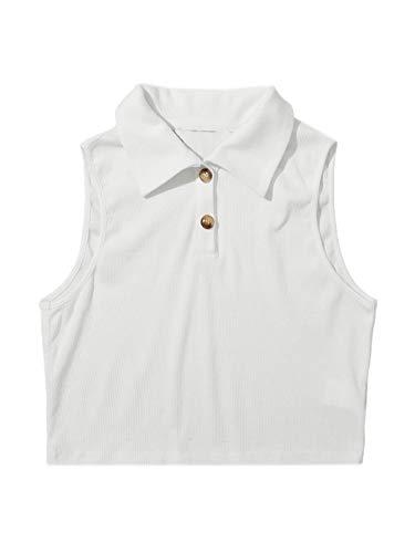 DIDK Camisetas sin Mangas para Mujer, Top Tank Tejido de Canalé con Abertura Media con Botón Blanco S