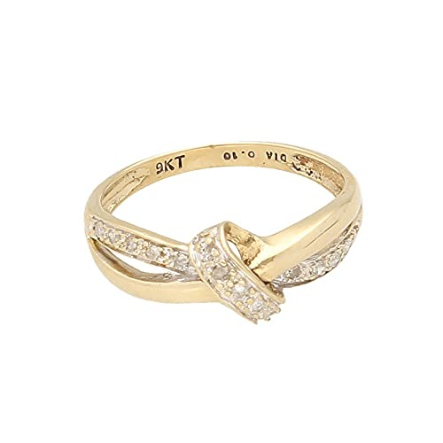 Anillo de eternidad de oro amarillo de 9 quilates con diamante de 0,10 quilates (talla J) 7 mm de ancho, anillo de lujo para mujer