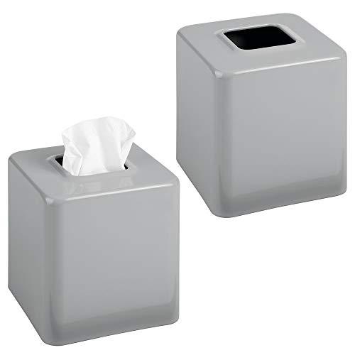 mDesign - Tissuehouder - verpakt per 2 stuks - voor tissuedozen/tissues/gezichtsdoekjes - voor slaapkamer en badkamer - voor wastafels, kaptafels, nachtkastjes, bureaus en tafels- vierkant/metaal/modern Medium - grijs - per 2 stuks verpakt