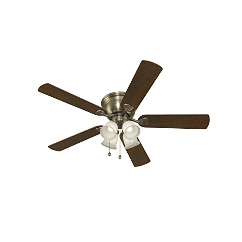 Harbor Breeze Centreville 52-in Antique Brass Indoor Flush Mount Ceiling Fan with Light Kit