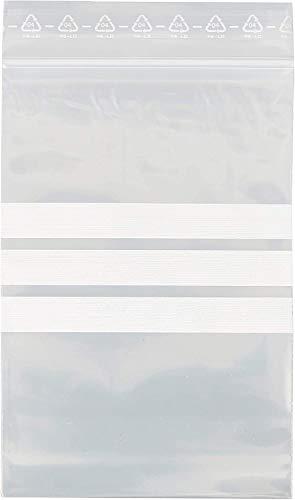 HeiZip 100 x Druckverschlußbeutel mit Beschriftungsstreifen 100 x 150 mm, 90 mµ/MY (extra stark), Transparent, Wiederverschliessbar, Lebensmittelecht