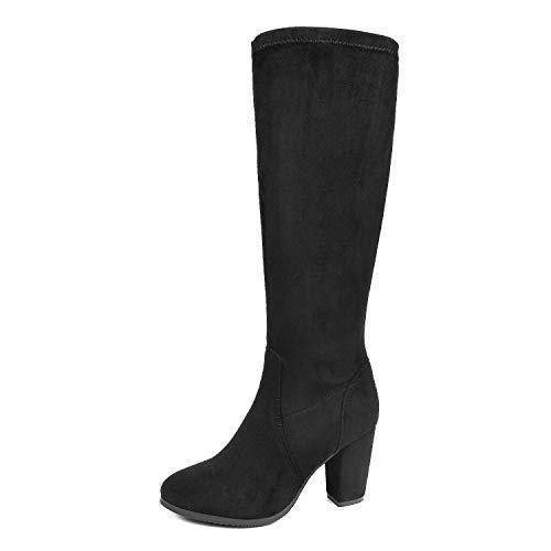 DREAM PAIRS Women's Midleg Black Chunky Heel Knee High Boots Size 7 M US