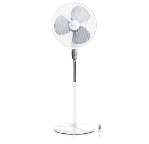 Brandson - Standventilator mit Fernbedienung - Standlüfter leise - Ventilator höhenverstellbarer - Neigungswinkel verstellbar - 3 Verschiedene Geschwindigkeitsstufen - Oszillationsfunktion - weiß
