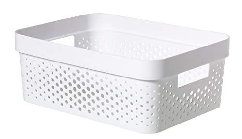 CURVER | Bac Infinity 11L Dots - Plastique recyclé, Blanc, Crates, 35,6x26,6x13,6 cm