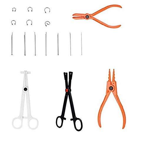 Kit per piercing per il corpo da 6 pezzi Set di pinzette per strumenti professionali per il naso e l'orecchio con anello Goujon
