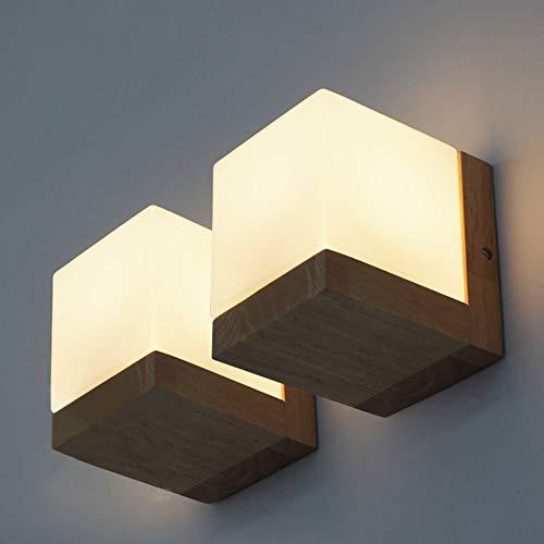 MJSM Light Lamp, Chinees, moderne Jane om uit te rusten, wandlamp van glas, woonkamer, eikenhout, nachtkastje, verlichting voor entree, trappen