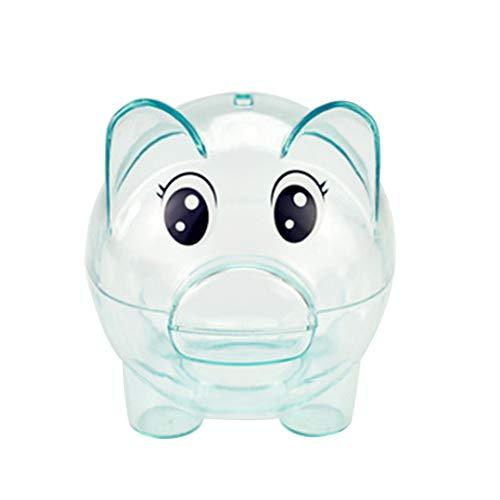 Sparschwein Kunststoff Transparent Geld Sparen Box Münzen Cartoon Schwein Geformt Piggies Bank Münzfach für Kinder Geschenk (Blau)