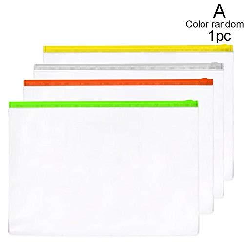 Romancy A4 A5 A7 Transparent Pull Seitentasche Reißverschluss Dokumententasche PVC Pull Edge Information Bag Zufällige Farben(A4 14C)