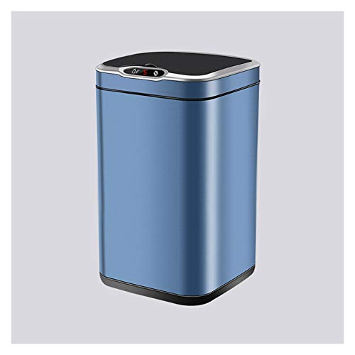 Bote de basura Basura de acero inoxidable con tapa Cuadrado de inducción Papelera de basura Papelera de basura inteligente para el hogar, carga de doble uso / batería (sin incluir la batería) Papelera