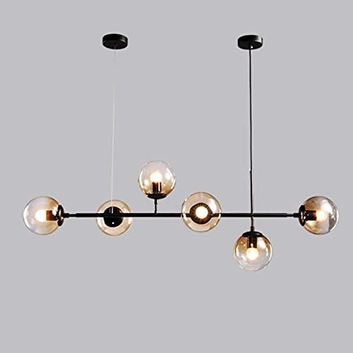 SKSNB Lámpara Colgante Molecular de Vidrio de 120 cm con Tira Larga, 6 Luces, lámpara Colgante Molecular de Altura Ajustable para Sala de Estar, para Sala de exposiciones de Hotel Villa,