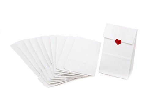50 Stück kleine weiße Papiertüten mit Boden + Pergamin-Einlage - Teetüten Tütchen 7 x 4 x 20,5 cm Blockbodenbeutel Papierbeutel zum Befüllen Mini-Tüten Kraftpapier - lebensmittel-echt Verpackung