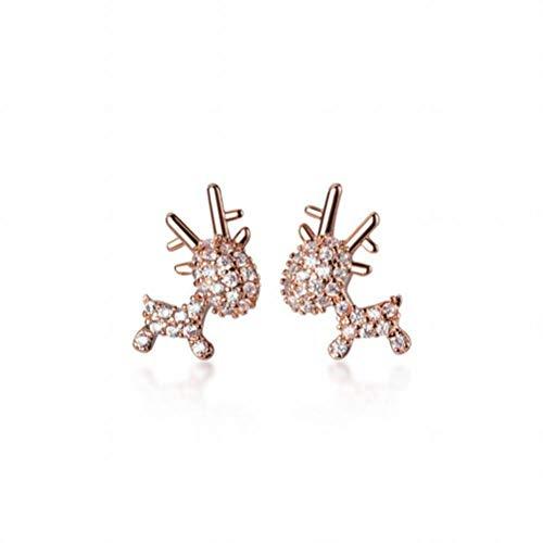 S925 Pendientes de Alce de Diamantes Lindos de Plata Dulce Estudiante Estilo Natural Regalo de Navidad, W-L, oro y rosa