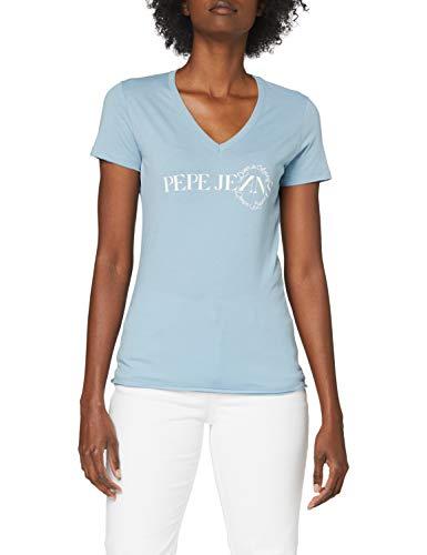 Pepe Jeans Agnes Camiseta, Azul (Quay 546), X-Small para Mujer