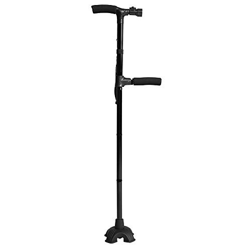 "Folding Walking Cane with LED Light, Two-Handle Adjustable Hand Walking Stick w/ Stable Quad Cane Base for Arthritis Seniors Disabled Elderly Pregnant Woman Hiking, Adjusts from 34"" to 39"", Black"