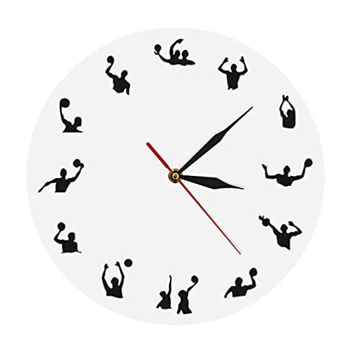 LTMJWTX Reloj de Pared Moderno de diseño Minimalista de Waterpolo, competición de Pelota Deportiva, Juego de Piscina, Juego de Equipo, Reloj de Pared de Waterpolo de natación, regalo-30X30cm