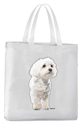 AdriLeo Einkaufstasche Malteser (weißes Fell)